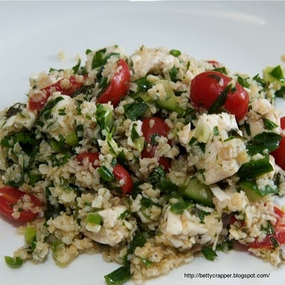 chicken tabbouleh. I would sub quinoa for bulgar and boneless skinless chicken breast for the bone in skin on higher fat variety: Skinless Chicken Breast