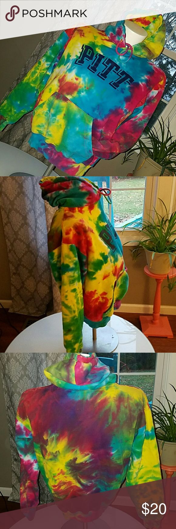 TiE dye Hoodie from  Pittsburg College. Mint condition. Very groovy! Very colorful!   Pittsburgh College  Size M A Tie Dye Clothing Company Tops Sweatshirts & Hoodies