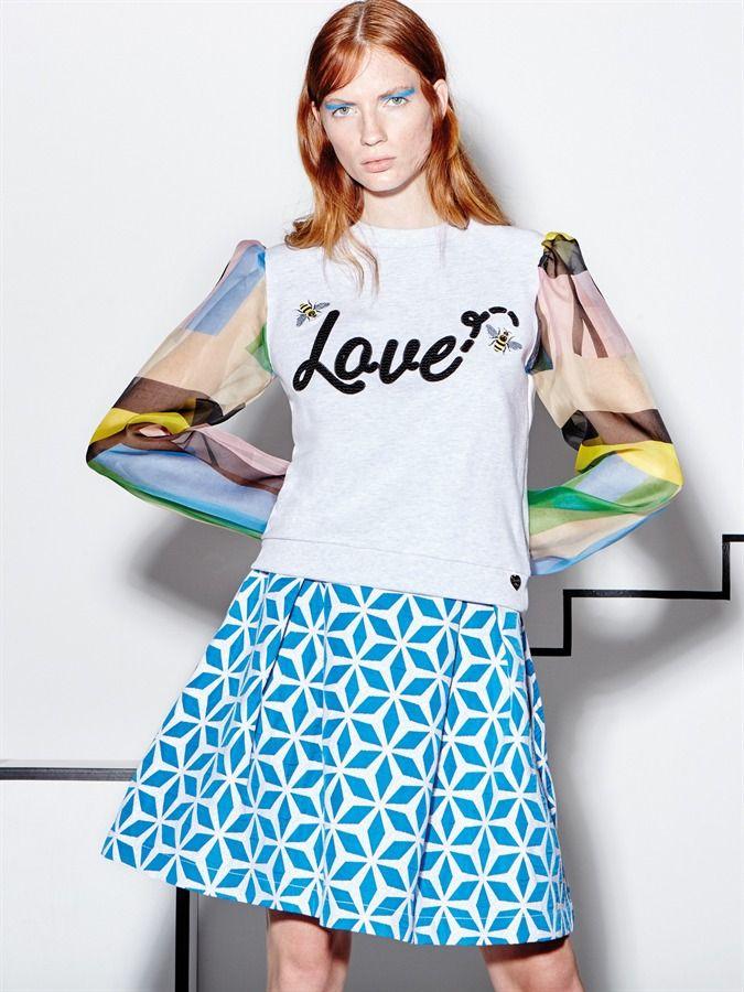 "Model wears Naughty Dog SS16 fleece ""Love blouse"" with silk ""Rainbow"" sleeves & geometric jacquard skirt!"