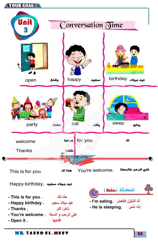 مذكرة لغة انجليزية للصف الثالث الإبتدائي الترم الأول Le Happy Thankful Happy