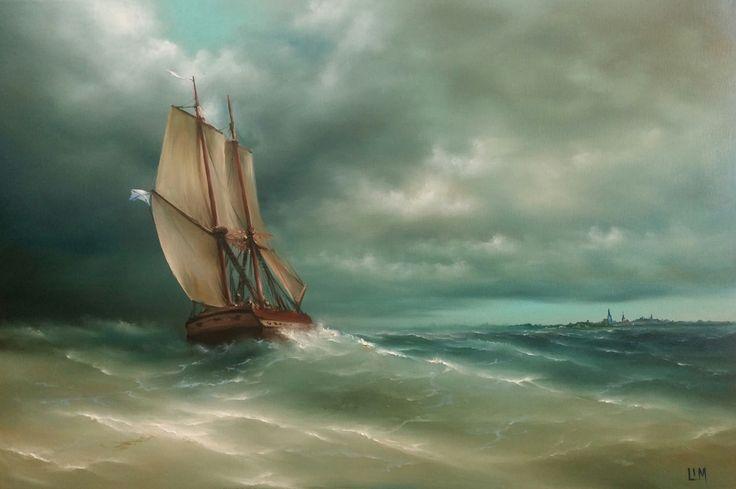живопись - морской пейзаж, купить картину Вид на Ревель 2