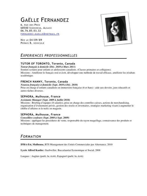 modele cv bts assistant manager - CV Anonyme