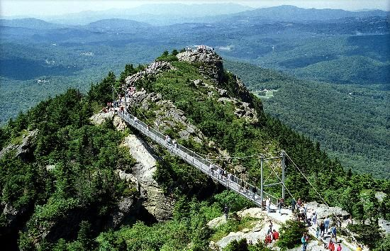 GRANDFATHER MOUNTAIN   Lineville, NC, near Banner Elk, NC.    I managed to get across the bridge.