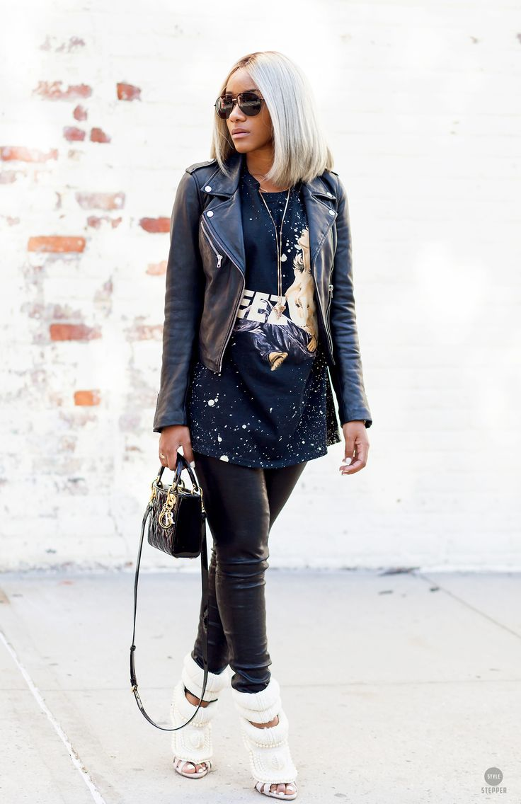 """stylestepper: """"STREET EDITORIAL 2014 @simplicityxstyle -Photo by @StefonMiller 1. Leahter jacket 2. Shoe's + TEE #kanye west Giuseppe zanotti 3. Leather Jeans #4. Bag #DIOR 5. T-shirt #yeezus t shirt..."""