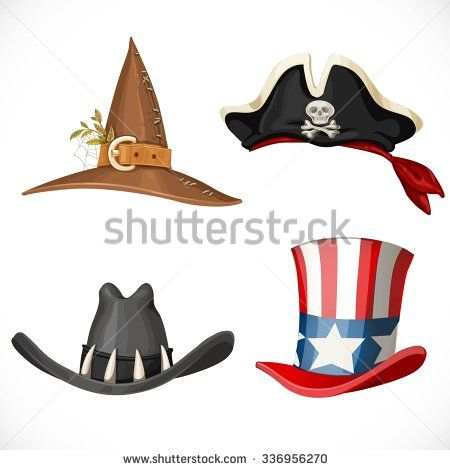 Set of hats for the carnival costumes - for Uncle Sam, witch, pirate and cowboy isolated on a white background
