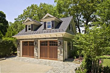 This is how I want my garage: double doors, room over top, off to the side of the main house. Garage and Shed Design Ideas, Pictures and Remodels