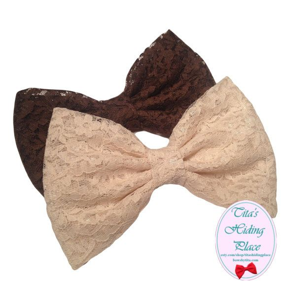 Lace Fabric Hair Bow Brown Lace Bow Big Lace by TitasHidingPlace