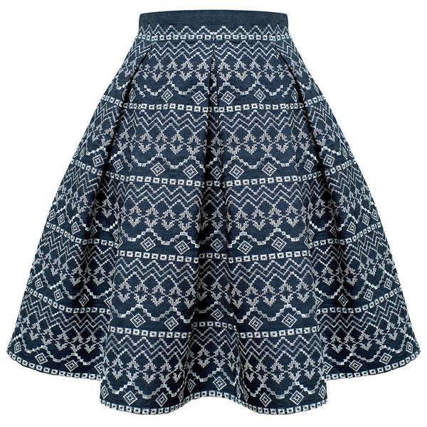 Rumour London - ANNA Embroidered Flared Skirt found on Polyvore featuring skirts, bottoms, faldas, saia, spódnice, midi flare skirt, blue circle skirt, pleated skirt, flared midi skirt and blue pleated skirt