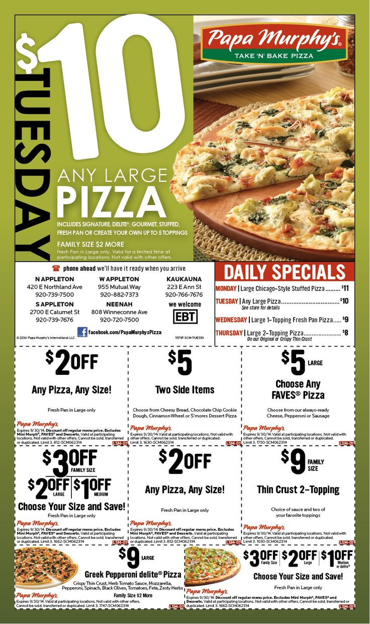 photo regarding Papa Murphy's Printable Coupon titled Coupon codes papa murphys pizza : Framework tools coupon