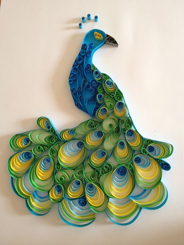 quilling.Paper Quilling, Wedding Guest Book, Ideas, Quilling Peacocks, Pavo Real, Blue Green, Paper Art, Paper Sculpture, Paper Crafts