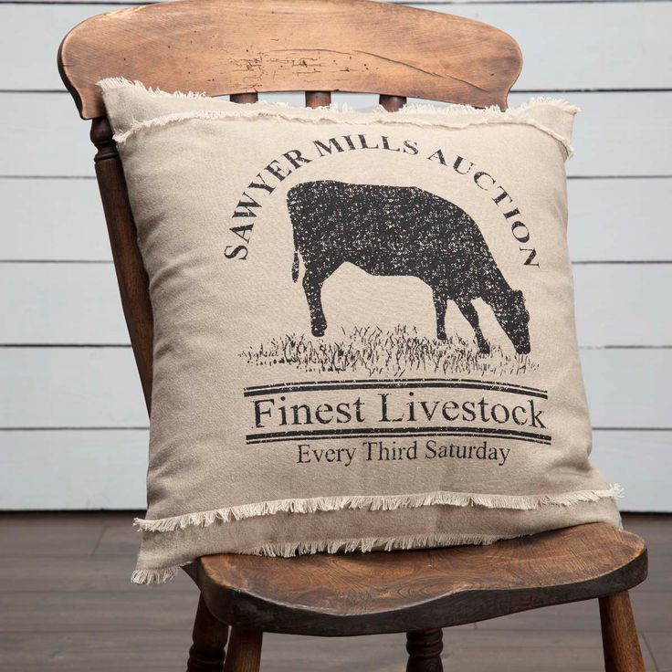 """Sawyer Mill Cow Pillow 18"""" Filled"""
