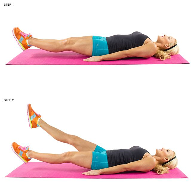 Leg Lifts: As you lay on your back, kick your legs up into the air so that the bottoms of your feet are facing the ceiling. Slowly lower your legs until they are a couple inches off the ground, and then return to the starting position. Remember to keep your stomach flat as you complete the exercise. Repeat for 3 sets of 12-15 reps.