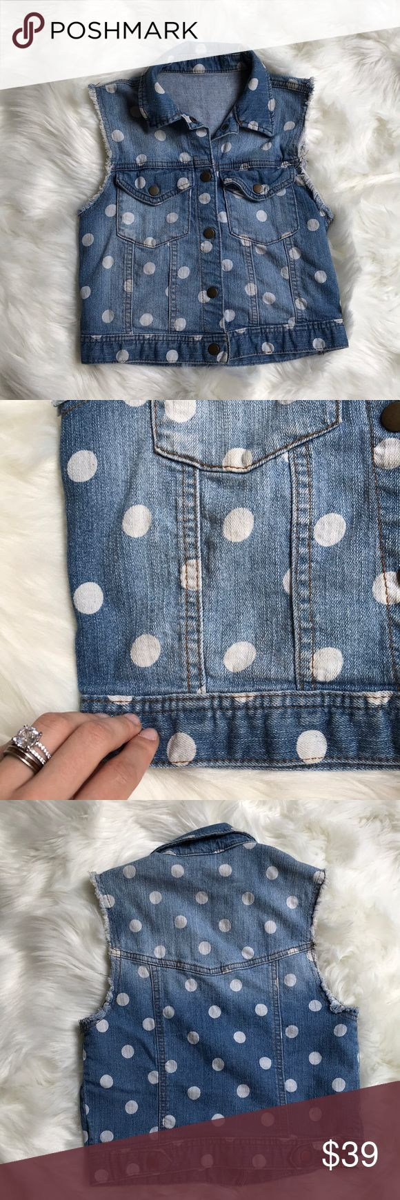 Denim Polka Dot Vest Hecka cute vest for all your cute denim looks. Great condition. Jackets & Coats Vests