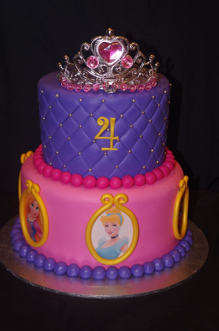 Princess Cake - I made this Princess Cake for my daughters 4th birthday. She loves her Disney princesses so I put some of her favourites around it! :)