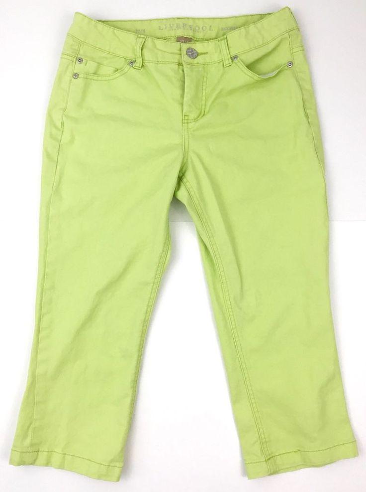 Liverpool Stitch Fix Sz 27 4 Jean Capris Lime Green Neon Shorts | eBay