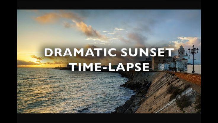 Dramatic Sky at Sunset Cadiz Spain Time Lapse 4K Royalty Free Footage