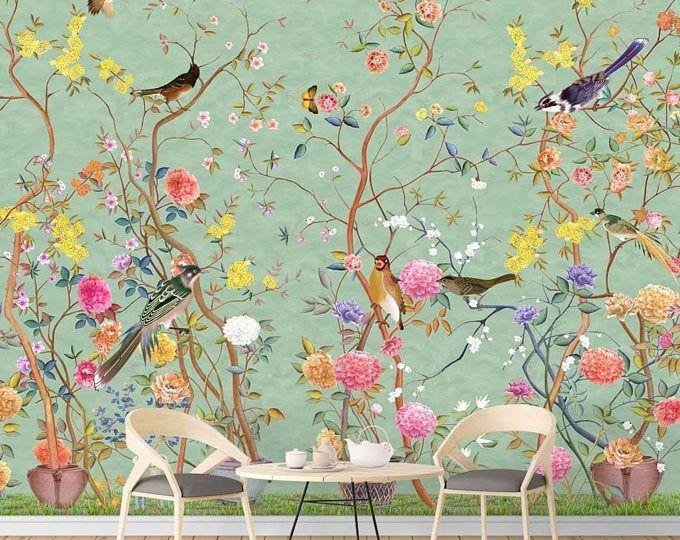 Nauzha Chinoiserie Wallpaper Vintage Bird Wallpaper Etsy Chinoiserie Wallpaper Vintage Bird Wallpaper Hand Painted Wallpaper