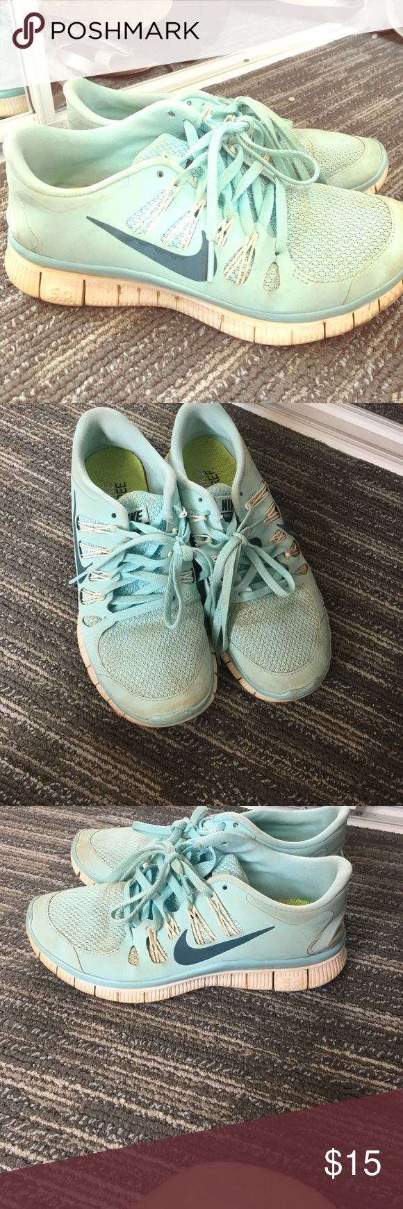 Nike Tiffany blue tennis shoes The cutes tennis shoes! Have some dirt stains (shown in pictures) would come out with a good wash. Size 7 in women's Nike Shoes Athletic Shoes
