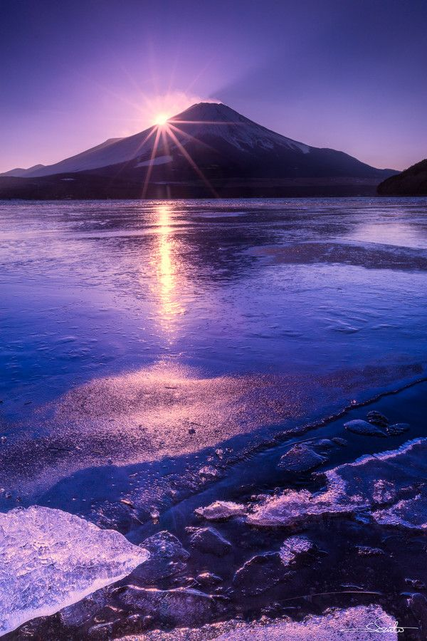 Sunset behind Mt. Fuji