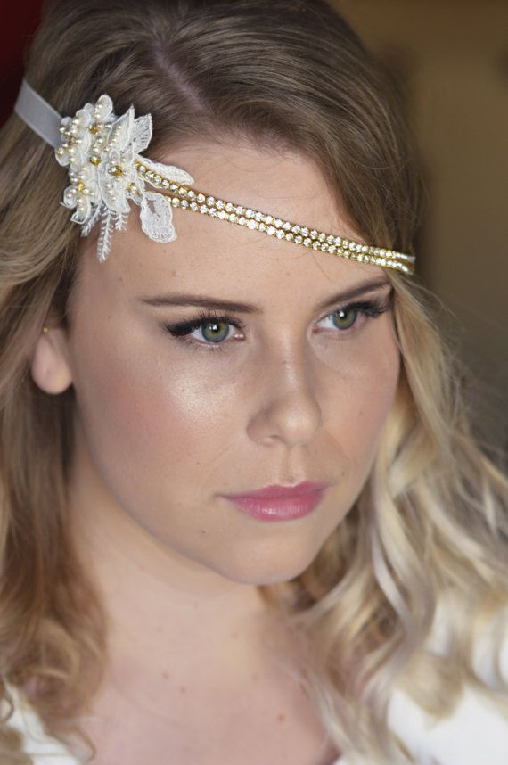 Bridal Lace Headband - Crystal Hairpiece - Gatsby Wedding - Vintage style - Chic Hairpiece - Art deco -
