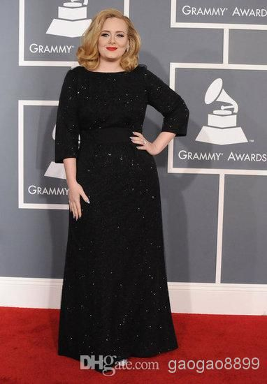 Wholesale Plus Size Gown - Buy 2014 Black 3/4 Long Sleeve Celebrity Dresses Plus Size Mother of Bride Sequins Charming Adele Grammys Evening Gowns Cheap, $111.96 | DHgate
