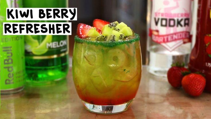 KIWI BERRY REFRESHER  1 oz. (30ml) Strawberry Vodka  2 oz. (60ml) Strawberry Daiquiri Mix  1 1/2 oz. (45ml) Melon Liqueur  1/2 oz. (15ml) Banana Puree 1 1/2 oz. (45ml) Green Red Bull  Rim: Green Sugar  Garnish: Strawberry Slices, Kiwi chunks  PREPARATION 1. Rim the edge of your glass using green sugar. Set aside.  2. In a shaking glass with ice, combine strawberry vodka and strawberry daiquiri mix. Shake well.  3. Strain 1 1/2 oz. (45ml) of the mix into the rimmed glass.  ...