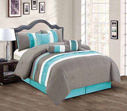 Modern 7 Piece Bedding Teal Blue / Grey / White Pin Tuck