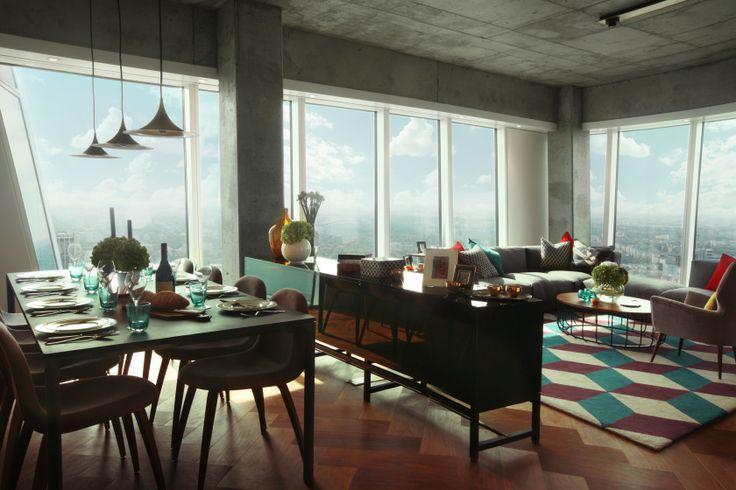 ZŁOTA_ przestrzeń dzienna_apartament 236 m2