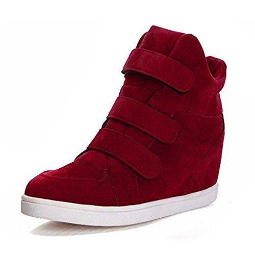 Padgene Baskets Mode Compensées Scratch Suede Nylon Sneakers Hautes Chaussures de ville Leopard Femme: Tweet * matériaux extérieur :suédé *…