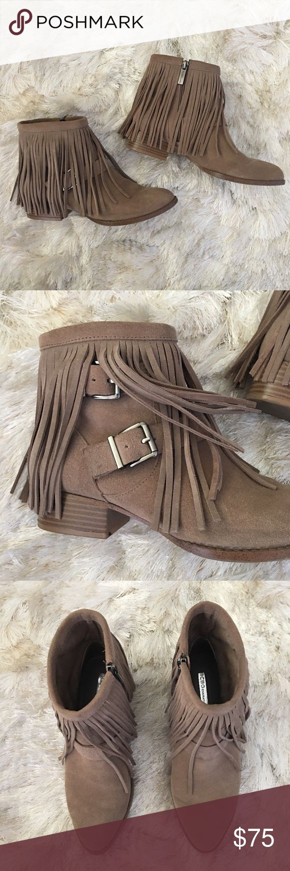 "Taupe Fringe Suede Buckled Boho Ankle Boots 7 Great condition. Taupe fringe ankle boots with inside zip. Size 7. Super comfy and true to size. By BCBGeneration. Heel height 1.25"". Double buckle detail. Leather uppers, man made sole. So cute with spring rompers, dresses, and shorts. ❌ No trade. ❌ No PayPal. ❌ No low offers. ❌ BCBGeneration Shoes Ankle Boots & Booties"