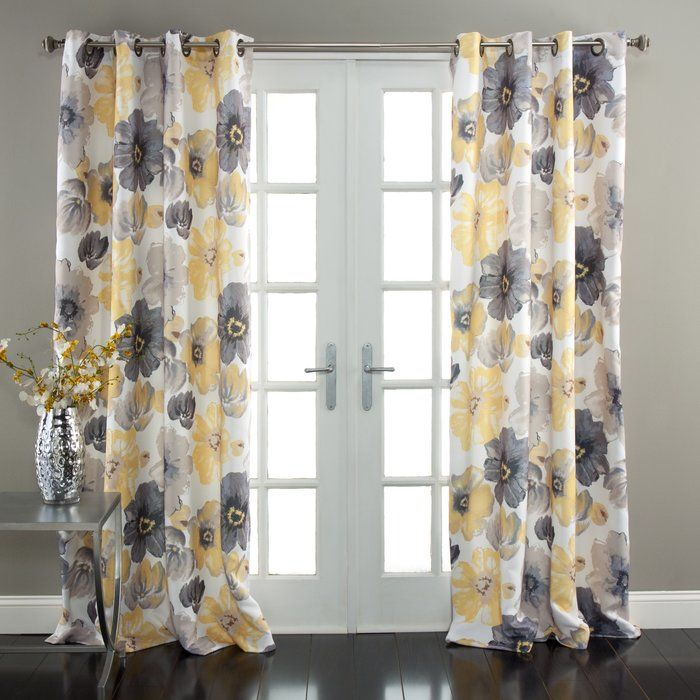 Sikora Nature Floral Room Darkening Thermal Grommet Curtain Panels