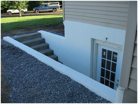 PA, lancaster County, Custom Basement Walkout Egress Door Installation, basement entrance, cinder block walls, stucco finish, Leacock, Littl...