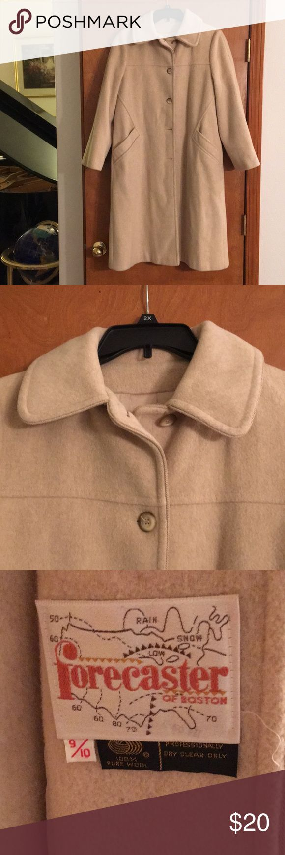 100% Wool Winter Coat Forecaster of Boston cream colored wool coat.  Vintage, probably from late 70s.  In very good shape, very clean.  Fully lined  Size 9/10 Forecaster of Boston Jackets & Coats Trench Coats