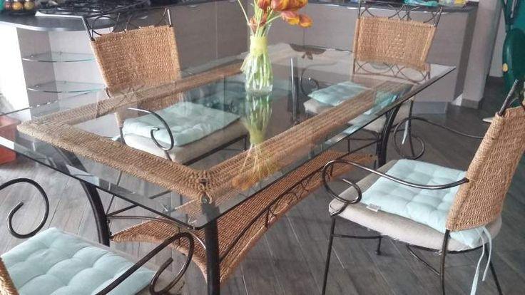 Set Tavolo più 6 sedie in ferro battuto per esterno/interno