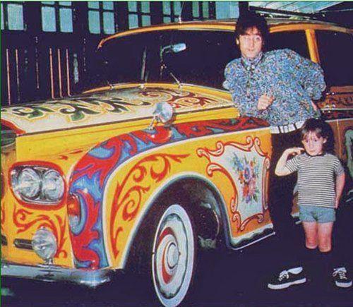 John Lennon with his son Julian. (What a crazy car. Wow.)