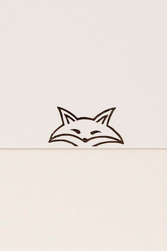 A funny pursy eyes fox peek-a-boo stamp - Non-mounted hand carved simple rubber stamp - funny animal stamp