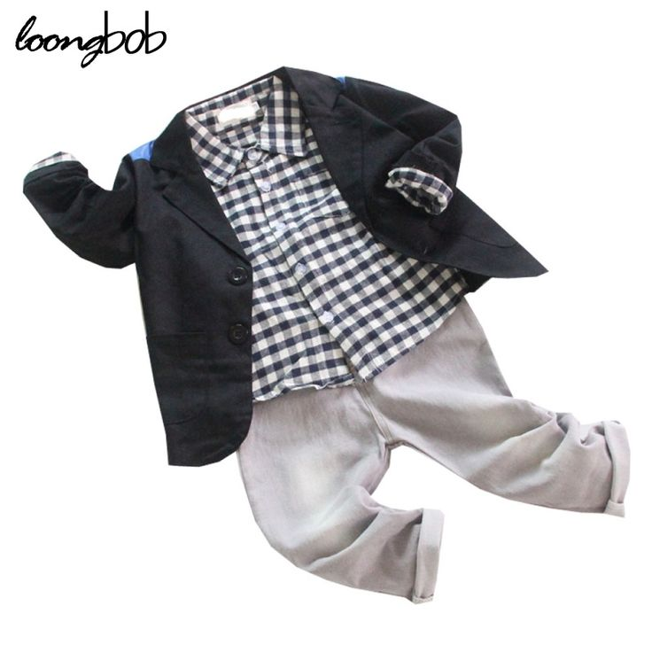24.12$  Buy now - http://alint6.shopchina.info/1/go.php?t=32490905836 - Baby Boys Gentleman Sets Clothes 3 Pcs Black Dress Jacket + Plaid T-shirt + Gray Jeans Infant Kids Party Wedding Formal Wearing  24.12$ #bestbuy