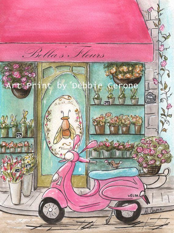 Paris Theme Nursery Prints, Personalized French Flower Shop, Pink Paris Bedroom Decor, Paris Theme Party, Paris Baby Shower Gift Idea, Vespa