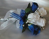 Wedding White and Royal Blue Roses Handtied Bridemaid/Toss Bouquet. $15.95, via Etsy.