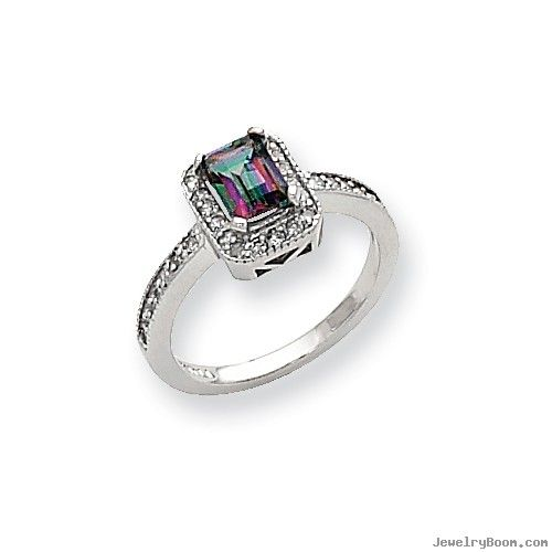 10k White Gold Diamond and Mystic Fire Topaz Ring in White Gold Rings