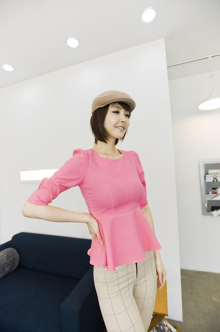 square neck peplum blouse from Kakuu Basic. Saved to Kakuu Basic Blouses & Shirts.