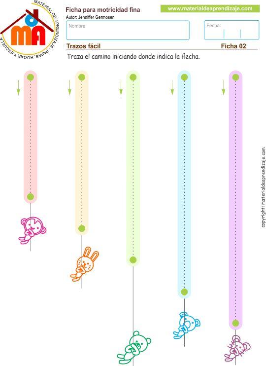 Practicamos trazos verticales de arriba hacia abajo. Ficha imprimible de motricidad fina para desarrollar y pontenciar la preescritura tanto de letras cómo de números; en niños de educación infantil.