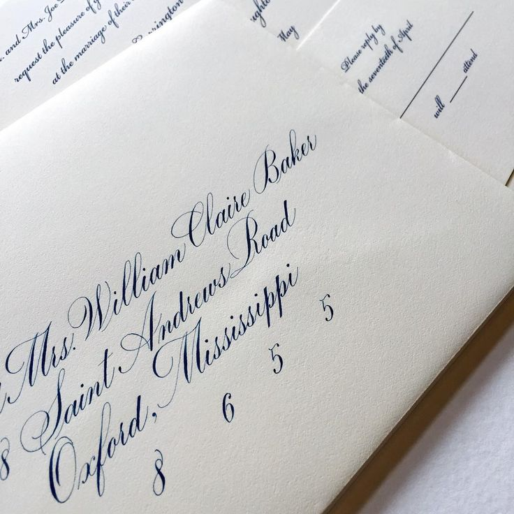 Custom navy gouache and a Bickham invitation