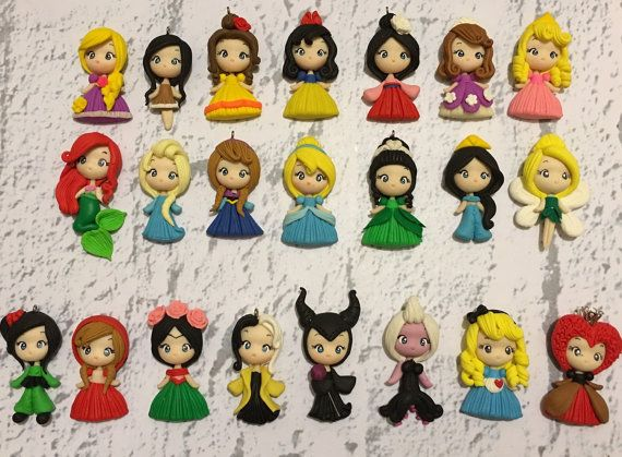 Set of princess new look clay edition2 pendant- scrapbooking- polymer clay- princesses clay- bow embellishment