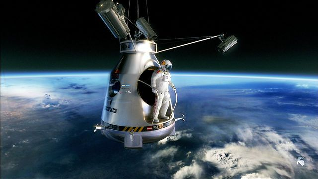 RedBull Stratos by AixSponza. Red Bull Stratos, a mission to the edge of space. Felix Baumgartner will be going up to 120.000 feet in a capsule attached to a helium balloon. Once he's up there he'll jump doing the highest parachute jump ever done by a human.
