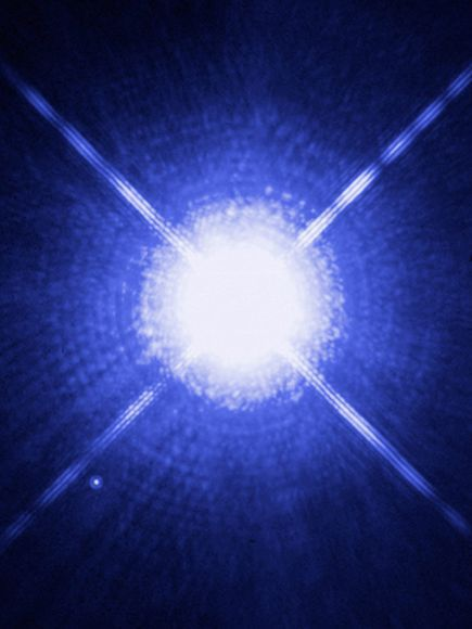 Sirius and Sirius B. The brightest star in the nighttime sky, Sirius, or the Dog Star, greatly outshines its white dwarf companion, Sirius B. At 8.6 light-years away, Sirius B is the nearest known white draft star to Earth.