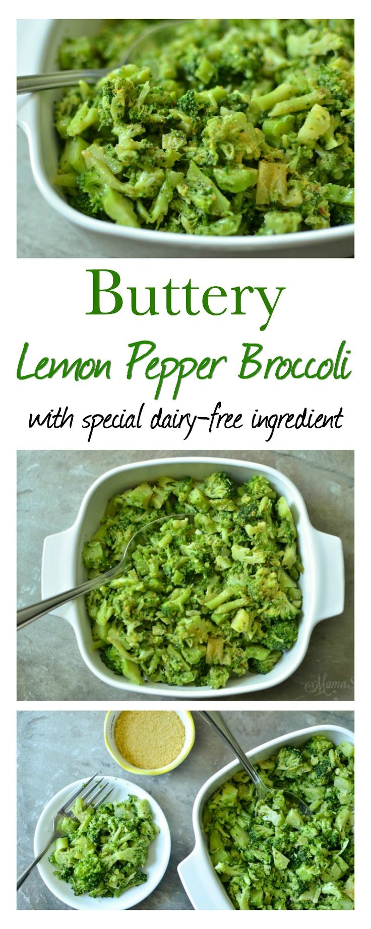 Buttery Lemon Pepper Broccoli made with special dairy-free ingredients. So delicious and easy to make. Get your veggies in! Trim Healthy Mama (S)