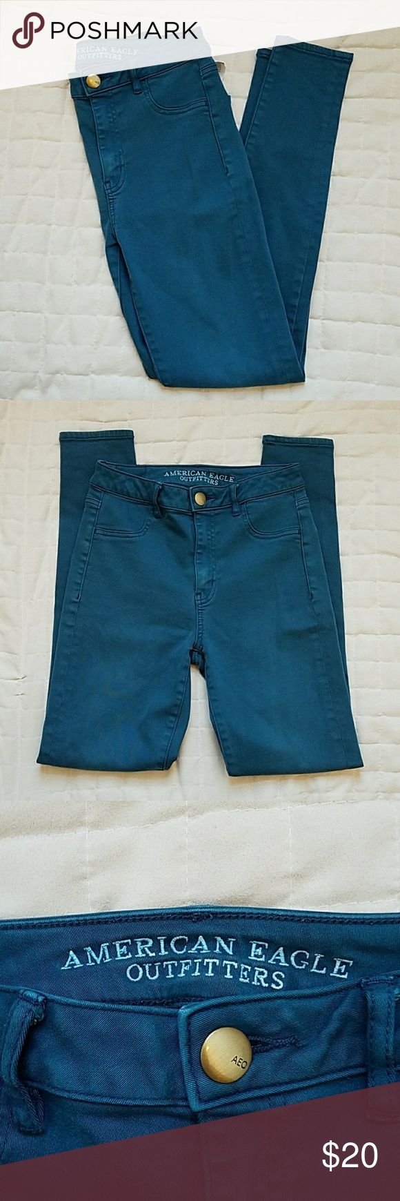 *FINAL PRICE* AE Teal Skinny Sky High Jeggings BNWOT American Eagle Sky High Jeggings Lovely teal color, perfect condition, super-soft fabric and perfect skinny jean leg! Size 2  Inseam: 28 in. Outer seam: 38 in. Leg opening: 4.5 in. American Eagle Outfitters Jeans Skinny