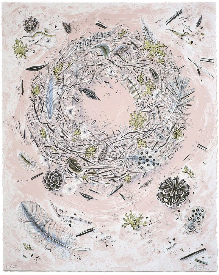 'Oscar's Nest' screenprint by Angie Lewin http://www.angielewin.co.uk