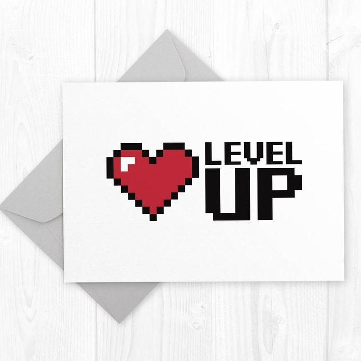 Level Up Geeky Gamer Birthday Printable Card For Boyfriend